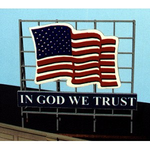 Laser Cut Wood Billboard - Patriotic US Flag
