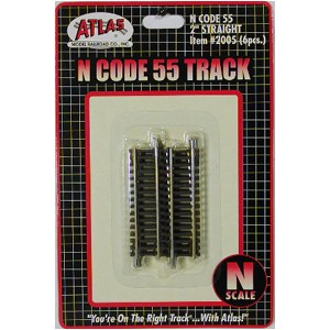 "Code 55 Track w/Nickel-Silver Rail & Brown Ties - 2"" Straight (6pk)"