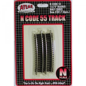 "Code 55 Track w/Nickel-Silver Rail & Brown Ties - 13 3/4"" Radius Half Curve (6pk)"