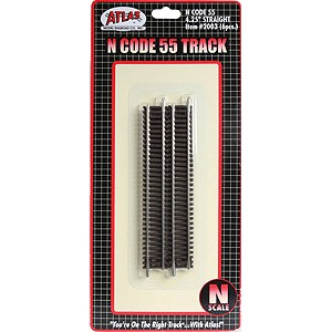 "Code 55 Track w/Nickel-Silver Rail & Brown Ties - 4-1/4"" Straight (6pk)"
