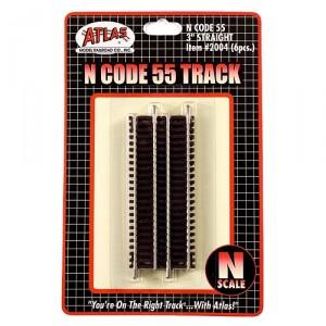 """Code 55 Track w/Nickel-Silver Rail & Brown Ties - 3"""" Straight (6pk)"""