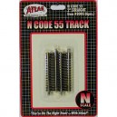 """Code 55 Track w/Nickel-Silver Rail & Brown Ties - 2"""" Straight (6pk)"""