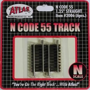 """Code 55 Track w/Nickel-Silver Rail & Brown Ties - 1-1/4"""" Straight (6pk)"""