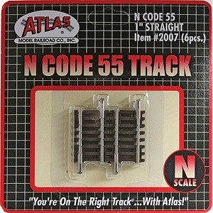 "Code 55 Track w/Nickel-Silver Rail & Brown Ties - 1"" Straight (6pk)"