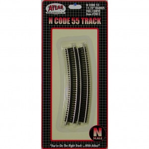 "Code 55 Track w/Nickel-Silver Rail & Brown Ties - 11 1/4"" Radius Full Curve (6pk)"