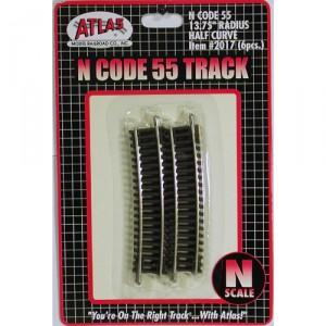 "Code 55 Track w/Nickel-Silver Rail & Brown Ties - 13 3/4"" Radius Half Curve (6pk)"