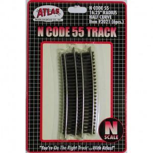 "Code 55 Track w/Nickel-Silver Rail & Brown Ties - 16 1/4"" Radius Half Curve (6pk)"