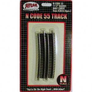 Code 55 Track w/Nickel-Silver Rail & Brown Ties - 17 1/2 Half Curve (6pk)