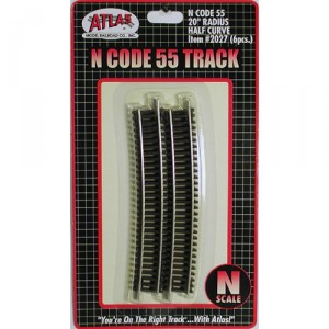 "Code 55 Track w/Nickel-Silver Rail & Brown Ties - 20"" Radius Half Curve (6pk)"