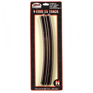 "Code 55 Track w/Nickel-Silver Rail & Brown Ties - 21 1/4"" Radius Full Curve (6pk)"