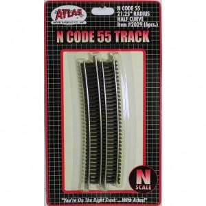"Code 55 Track w/Nickel-Silver Rail & Brown Ties - 21"" 1/4"" Radius Half Curve (6pk)"