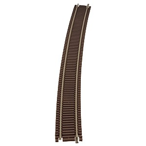 "Code 55 Track w/Nickel-Silver Rail & Brown Ties - 71"" Radius Full Curve (6pk)"