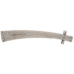 "Code 55 Track w/Nickel-Silver Rail & Brown Ties - 21 1/4"" Radius/15"" Radius Turnout Left Hand"