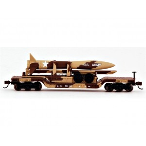 52' Center Depressed Flat Car - Desert Military with Missile