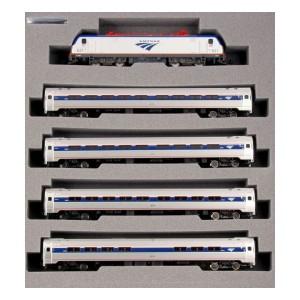 ACS-64 and Amfleet I Phase VI 5-Unit Bookcase Set (DCC Equipped)