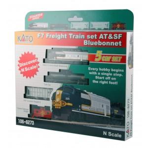 Bluebonnet F7 Diesel Freight Train - Santa Fe (DC,DCC & Sound )