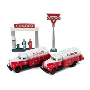 IH R-190 Tank Trucks plus Service Station Sign & Gas Pump Island (Conoco)