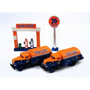 IH R-190 Tank Trucks plus Service Station Sign & Gas Pump Island (Union 76)