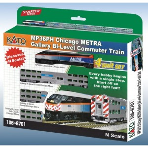 MP36PH Chicago METRA Gallery Bi-Level Commuter Train 4-Car Set (DCC Equipped)